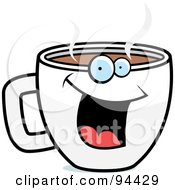Royalty Free RF Clipart Illustration Of A Happy Smiling Coffee Cup Face