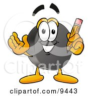 Clipart Picture Of A Hockey Puck Mascot Cartoon Character Holding A Pencil