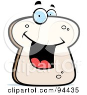 Royalty Free RF Clipart Illustration Of A Happy Smiling White Bread Face