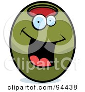 Royalty Free RF Clipart Illustration Of A Happy Smiling Green OliveFace