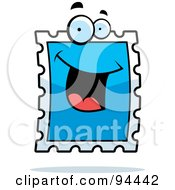 Royalty Free RF Clipart Illustration Of A Happy Smiling Postage Stamp Face