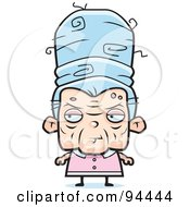 Royalty Free RF Clipart Illustration Of An Old Lady With Tall Blue Hair