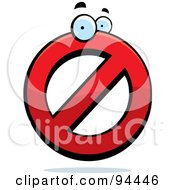 Royalty Free RF Clipart Illustration Of A Red Prohibited Symbol Character