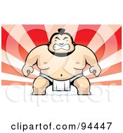 Tough Sumo Wrestler On A Red Ray Background