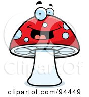 Royalty Free RF Clipart Illustration Of A Happy Red Mushroom Face