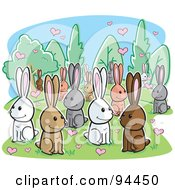 Royalty Free RF Clipart Illustration Of A Crowd Of Amorous Rabbits With Hearts by Cory Thoman