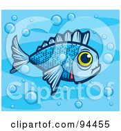 Royalty Free RF Clipart Illustration Of A Blue Fish With A Big Yellow Eye In Bubbly Water by Cory Thoman