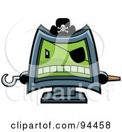 Royalty Free RF Clipart Illustration Of A Computer Pirate Wearing A Hat Eye Patch And Holding Out Peg And Hook Hands by Cory Thoman