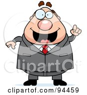 Royalty Free RF Clipart Illustration Of A Plump Boss Man Holding Up A Finger And Expressing An Idea by Cory Thoman