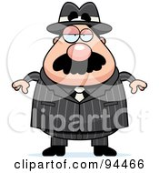 Royalty Free RF Clipart Illustration Of A Plump Mobster Man Facing Front by Cory Thoman