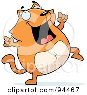 Royalty Free RF Clipart Illustration Of A Plump Orange Cat Doing A Happy Dance