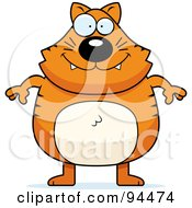 Royalty Free RF Clipart Illustration Of A Plump Orange Kitty Standing On His Hind Legs