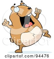 Royalty Free RF Clipart Illustration Of A Plump Hamster Doing A Happy Dance