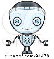 Royalty Free RF Clipart Illustration Of A Friendly Blue Robot Boy Facing Forward by Cory Thoman