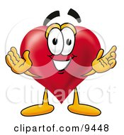 Love Heart Mascot Cartoon Character With Welcoming Open Arms