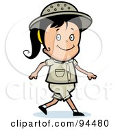Royalty Free RF Clipart Illustration Of A Safari Girl Smiling And Walking