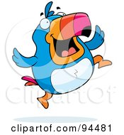 Royalty Free RF Clipart Illustration Of A Plump Happy Toucan Jumping by Cory Thoman