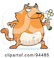 Royalty Free RF Clipart Illustration Of A Plump Orange Cat Holding A Daisy by Cory Thoman