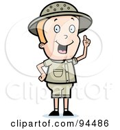 Royalty Free RF Clipart Illustration Of A Safari Boy Holding Up A Finger And Expressing An Idea