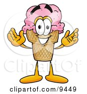 Poster, Art Print Of Ice Cream Cone Mascot Cartoon Character With Welcoming Open Arms