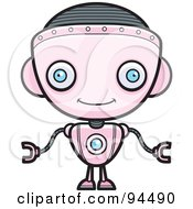 Royalty Free RF Clipart Illustration Of A Pink Robot Girl Facing Forward