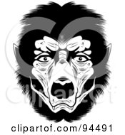 Royalty Free RF Clipart Illustration Of A Black And White Werewolf Face by Cory Thoman