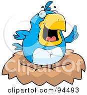Royalty Free RF Clipart Illustration Of A Plump Bluebird Expressing An Idea In A Nest
