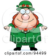 Royalty Free RF Clipart Illustration Of A Plump Leprechaun Man Facing Front by Cory Thoman