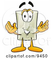 Poster, Art Print Of Light Switch Mascot Cartoon Character With Welcoming Open Arms