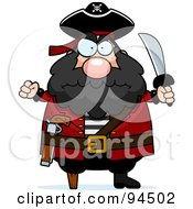 Royalty Free RF Clipart Illustration Of A Plump Angry Pirate Holding Up A Fist And Sword