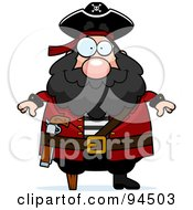 Royalty Free RF Clipart Illustration Of A Plump Peg Legged Pirate by Cory Thoman