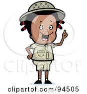 Royalty Free RF Clipart Illustration Of A Smart Black Safari Girl Holding Up Her Finger And Expressing An Idea