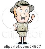 Royalty Free RF Clipart Illustration Of A Waving Blond Safari Boy