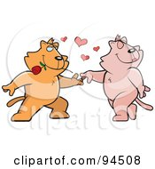 Royalty Free RF Clipart Illustration Of Romantic Cats Dancing Together