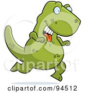 Royalty Free RF Clipart Illustration Of A Hungry Green Tyrannosaurus Running With His Tongue Hanging Out