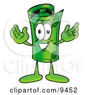 Clipart Picture Of A Rolled Money Mascot Cartoon Character With Welcoming Open Arms by Toons4Biz