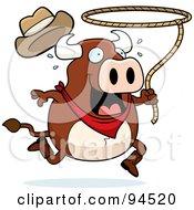 Rodeo Bull Swinging A Lasso