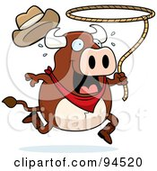Royalty Free RF Clipart Illustration Of A Rodeo Bull Swinging A Lasso by Cory Thoman