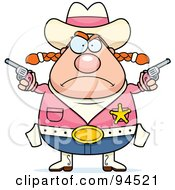 Royalty Free RF Clipart Illustration Of A Plump Angry Cowgirl Holding Up Guns
