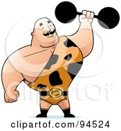 Royalty Free RF Clipart Illustration Of A Strong Man In A Spotted Outfit Holding Up A Barbell