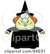 Royalty Free RF Clipart Illustration Of A Plump Green Witch