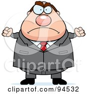 Royalty Free RF Clipart Illustration Of A Plump Angry Businessman by Cory Thoman