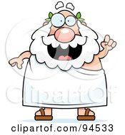 Royalty Free RF Clipart Illustration Of A Plump Greek Man Holding Up An Idea And Expressing An Idea by Cory Thoman