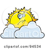 Royalty Free RF Clipart Illustration Of A Crying Sun Over Clouds