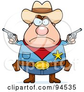Royalty Free RF Clipart Illustration Of A Tough Plump Sheriff Holding Pistols