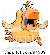 Royalty Free RF Clipart Illustration Of A Running Yellow Chicken