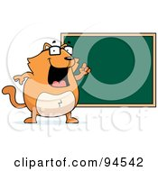 Royalty Free RF Clipart Illustration Of A Fat Orange Cat Standing By A Chalkboard by Cory Thoman