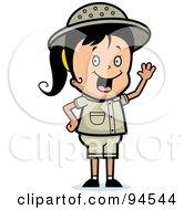 Royalty Free RF Clipart Illustration Of A Waving Happy Safari Girl
