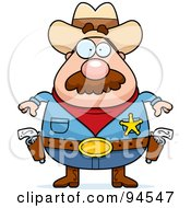 Royalty Free RF Clipart Illustration Of A Plump Sheriff Ready To Draw His Pistols