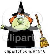 Royalty Free RF Clipart Illustration Of A Mad Plump Green Witch Holding A Broom